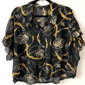 Vintage Black Crop Oversize Shirt Gold Chain Print